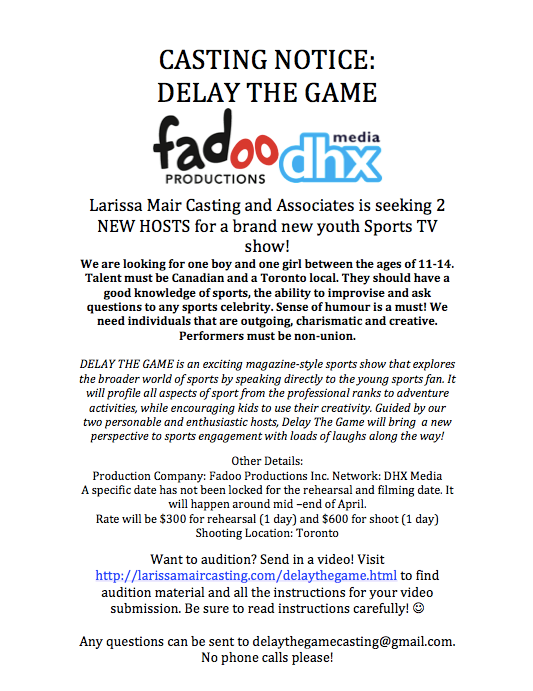 Delay The Game Casting Call