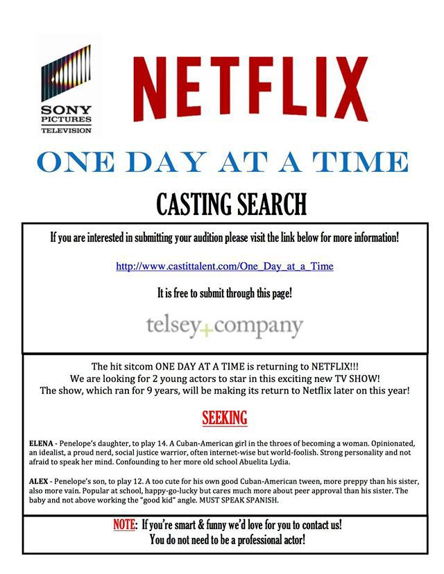 Netflix One Day At a Time Casting Call