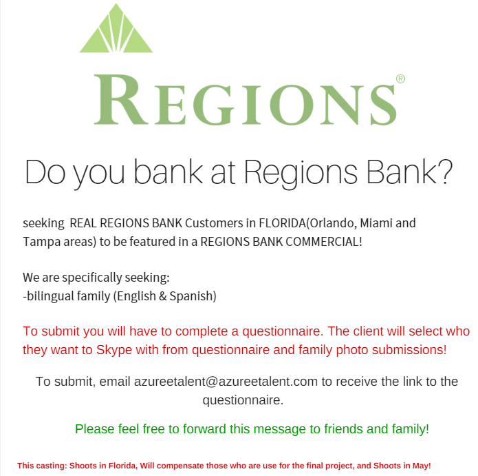 Regions Bank Casting Call