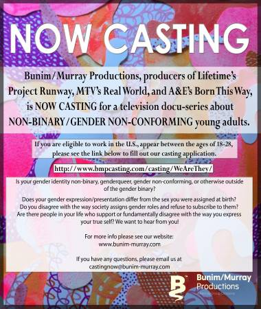NOW CASTING Gender Non-Conforming/Non-Binary Adults for TV